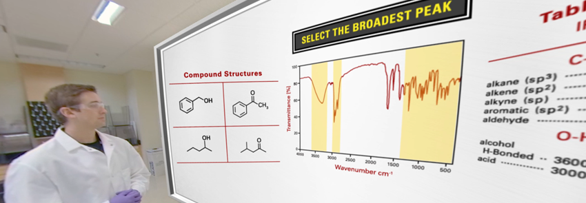 Screenshot of the organic chemistry in virtual reality experience. You can see the TA with a whiteboard with added animations of compound structures.