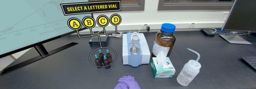 Screenshot of the organic chemistry in virtual reality experience. Pictured is a selection of a lettered vial with other chemistry instruments.