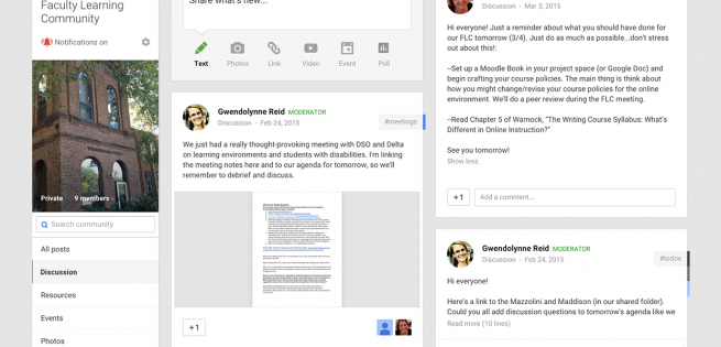 Screen capture of Online English 101 Faculty Learning Community