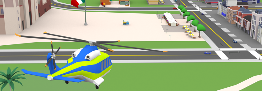 Screenshot from the FLS 102 course Unity 3D city.