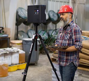 Arthur Earnest uses the Matterport camera system to capture the feed mill in 3D.