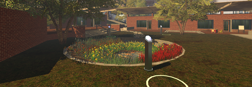 Screenshot of a landscaped area from the LAR 457 virtual experience.