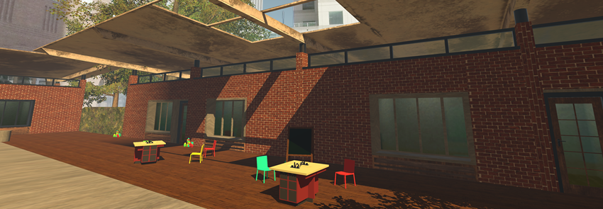 Screenshot of a patio from the LAR 457 virtual experience.