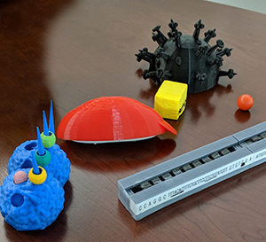 3D printed tactile teaching tools in the shape of biological molecules.