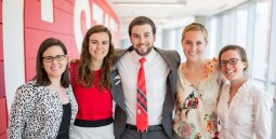 Dr. Natalie Cooke pictured with four undergraduate research professors