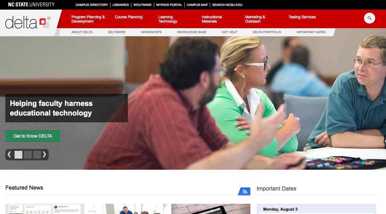 DELTA Website Redesign Features Services