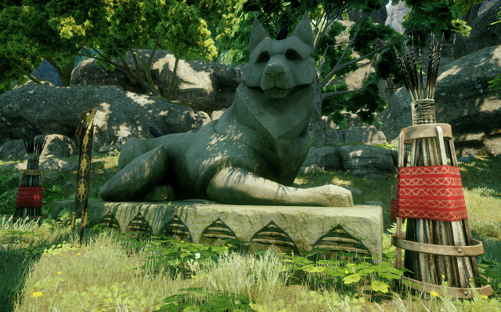 View of a wolf statue in a fantasy video game