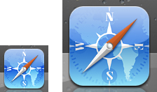 iOS Safari App icons side by side, left icon is normal resolution, right icon is higher resolution for retina displays