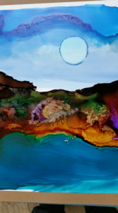 A water color painting of the moon created by Simison