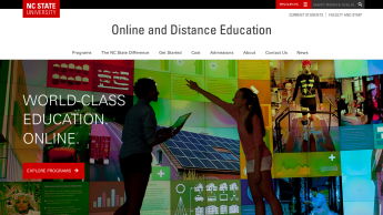 screenshot of new online and distance education page