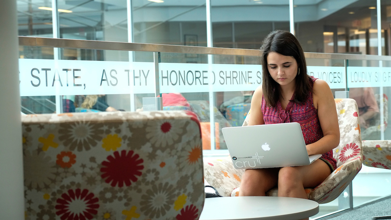 A student uses her laptop at the Talley Student Union. Photo by Marc Hall