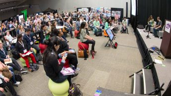 Photograph of SXSWedu 2016 participants attending NC State session about virtual reality.