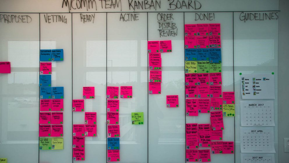The M/Comm Team Kanban Board. Photo by Sarah Banko
