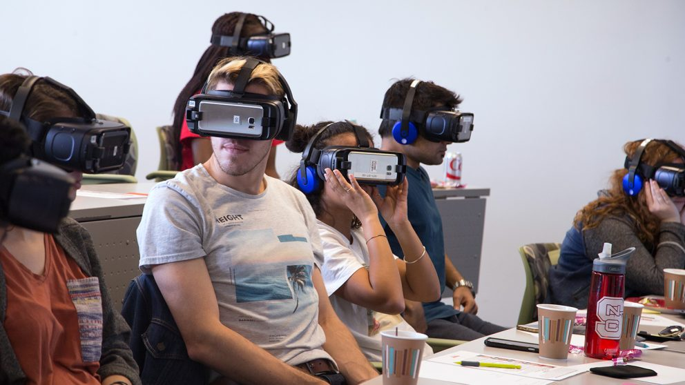 Students test new virtual reality scenarios in cross-cultural competency class at GTI on Centennial Campus.
