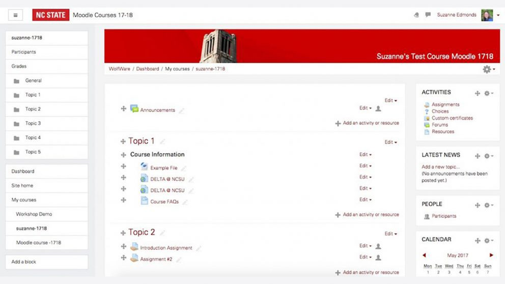 Moodle 3.2 Screenshot