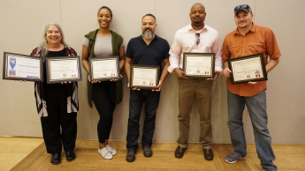 Photo of Cathi Dunnagan, Breanna Collins, Arthur Earnest, Shawn Colvin and Steve Bader with their Pathways graduation certificates