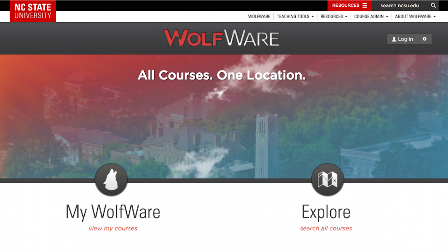 Screenshot of WolfWare home page