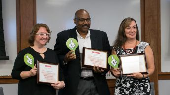Photo of Kim Allen, Edwin Lindsay and Maria Gallardo-Williams with their certificates of appreciation.