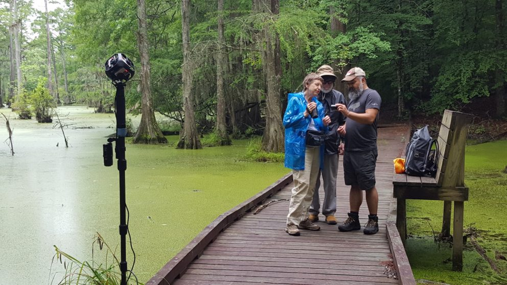 Photo of Arthur Earnest, Betty Black and Hal Heatwole at Merchants Millpond for BIO 181.