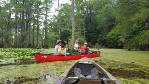 Photo of David Howard and Arthur Earnest being led by the ranger at Merhcants Millpond in kayaks