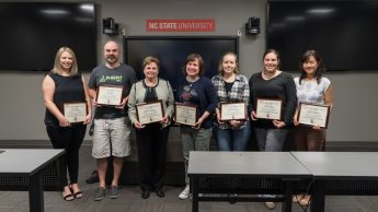 2017 Pride of the Wolfpack Award Recipients. Pictured left to right: Erica Wisecup, Bill Hicks, Rebecca Swanson, Traci Temple, Katie Richardson, Laurie Gyalog, Yiling Chappelow. Photo by Mike Cuales