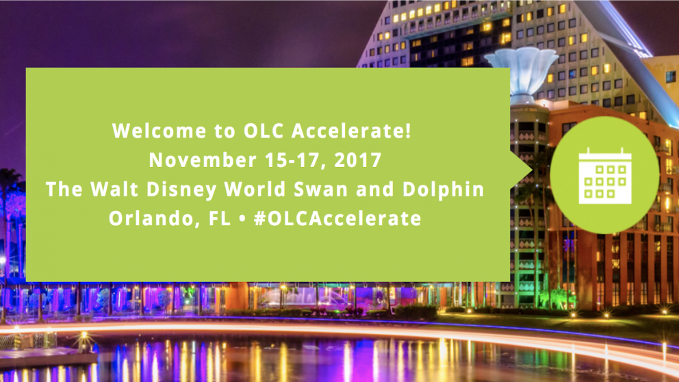 Screenshot of OLC page. Welcome to OLC Accelerate! November 15-17, 2017. The Walt Disney World Swan and Dolphin. Orlando, FL. #OLCAccelerate