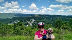 Katie Bean and Coco on the GAP Trail in Cumberland, Maryland.