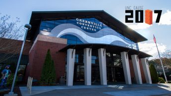 Photo of Greenville Convention Center with UNC CAUSE 2017 conference logo
