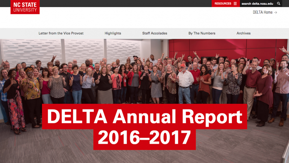Screenshot of DELTA Annual Report front page