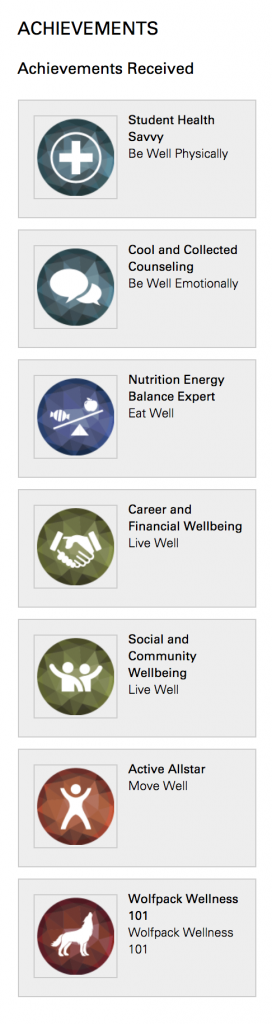 graphic of the achievement bar in wolfpack wellness module