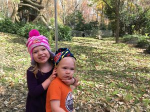 Monroe's daughter McKenna and son Alden at the North Carolina Zoo in Asheboro last fall.