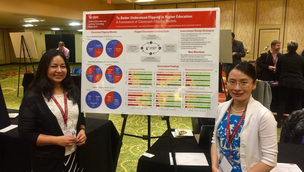 Photo of Jakia Salam and Yan Shen with their poster presentation.