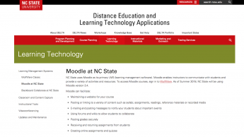 screenshot of web page Moodle at NC State