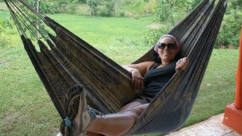 Photo of Laurie Gyalog in hammock in Quepos, Costa Rica.