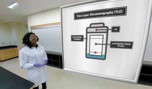 The TA talks students through the experience. On the virtual whiteboard is a design of a Thin Layer Chromatography (TLC).