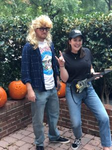 Dan and his girlfriend, Laurel, dressed as Garth and Wayne from Wayne's World for Halloween.