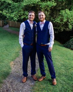 Dan and his twin brother, Tim, at Tim's wedding.