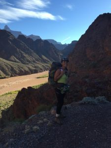 Monica pictured backpacking in the Grand Canyon.