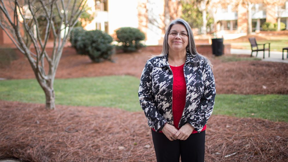 Sherry O'Neal outside on Centennial Campus. Photo by Thomas Crocker.