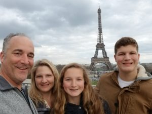 Sanchez and her husband posed with their son and daughter in front of the Eiffel Tower.