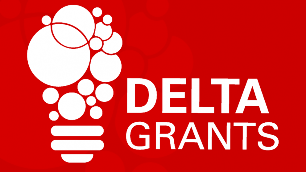 DELTA Grants logo - red background with white text and lightbulb icon.