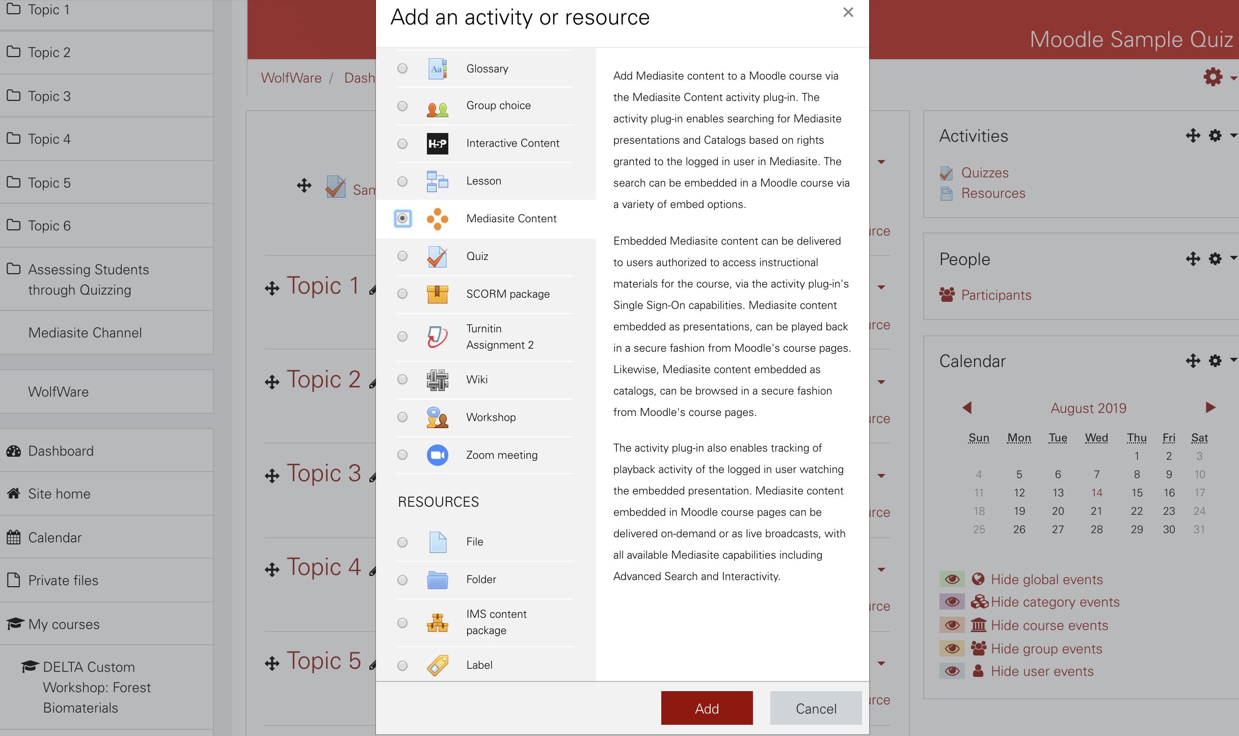 screenshot from Moodle Mediasite Integration