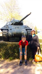 Lynda and her oldest grandchild, Simon, in front of the D-Day museum in Bayeux, France in April.