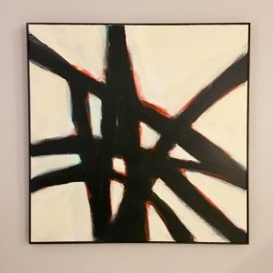 One of Alan's abstract painting pieces. There is a white background with black lines going throughout.