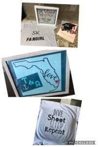 Various crafts including t-shirts, graduation cards, and an outline of Flordia in a frame.