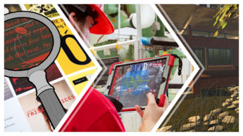 The image is separated into three parts with a chevron pattern. Each part displays a different DELTA project that uses extended reality (XR). From left to right, there is an interactive textbook using augmented reality, a man holding an ipad to display a feed mill's processes in augmented reality, and a virtual reality example of landscape architecture.