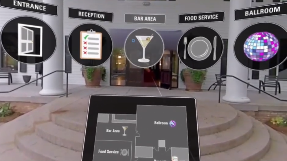 Screenshot of VR experience that highlights icon design, earcon design, and navigation