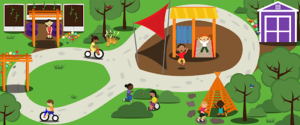 An illustrated field with a slide in the middle surrounded by a bike path, trees, gardens, tents and a tool shed. Children play throughout.