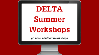 DELTA Summer Workshops graphic with a computer screen. go.ncsu.edu/deltaworkshops