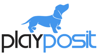 PlayPosit blue and black dog logo